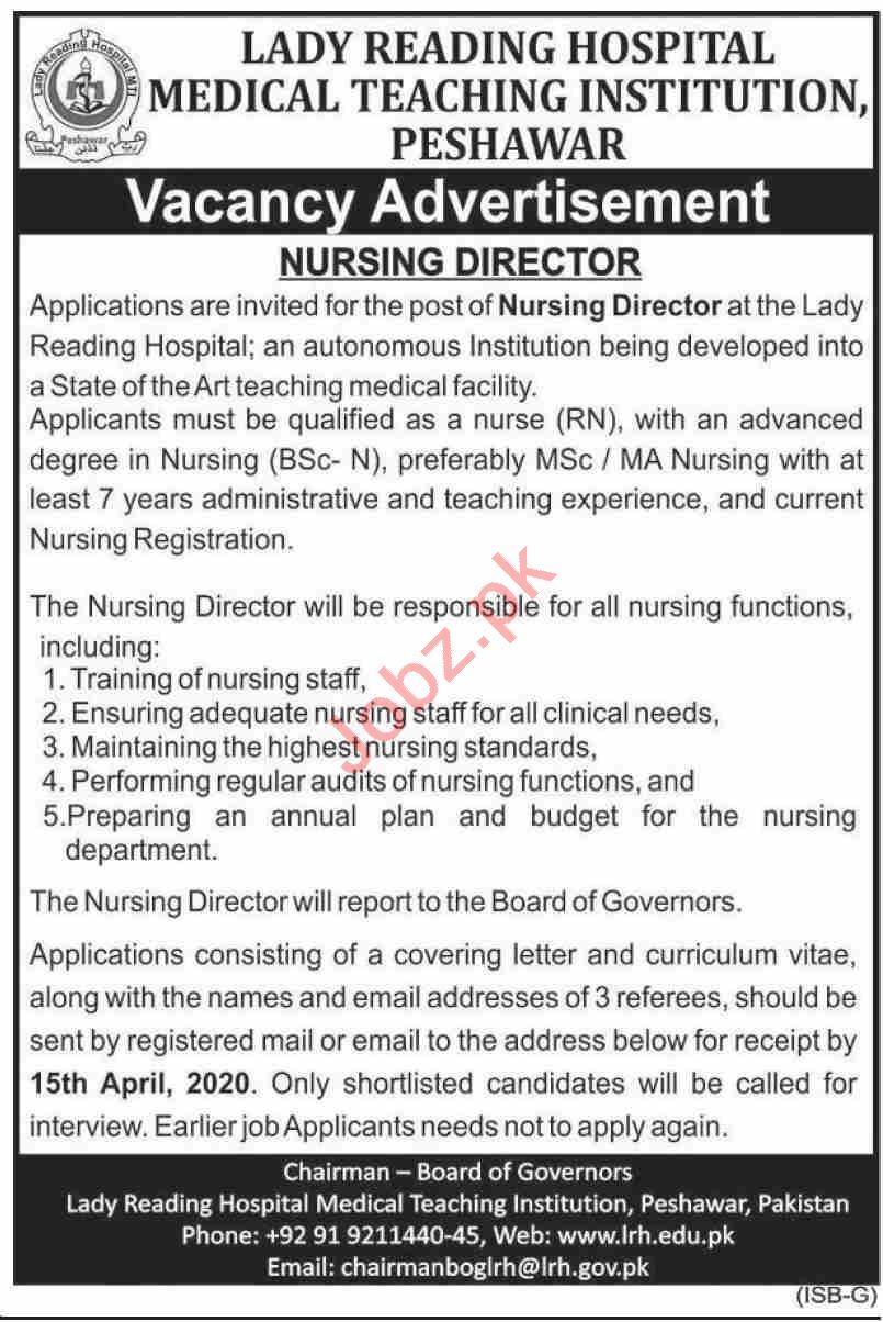 Lady Reading Hospital LRH Peshawar Jobs 2020 for Director