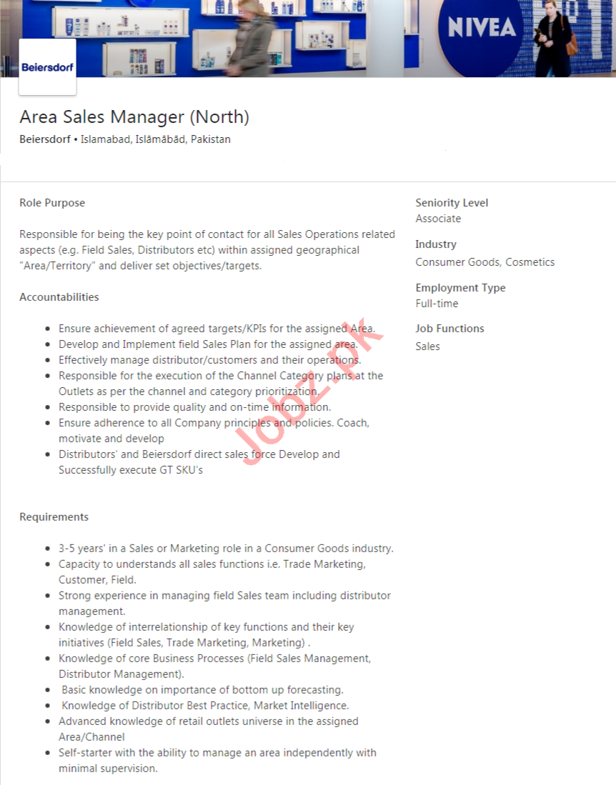 Beiersdorf Pakistan Jobs 2020 for Area Sales Manager