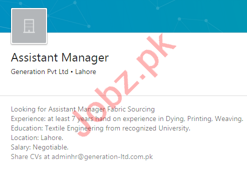 Generation Lahore Jobs 2020 for Assistant Manager