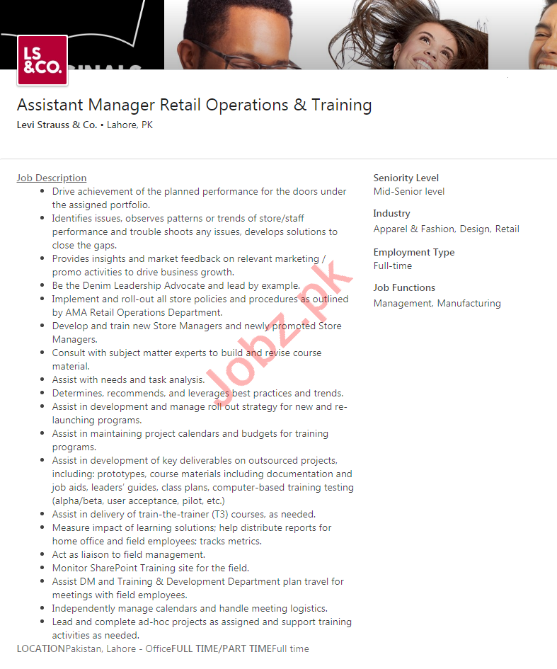 Levi Strauss & Co Lahore Jobs 2020 for Assistant Manager