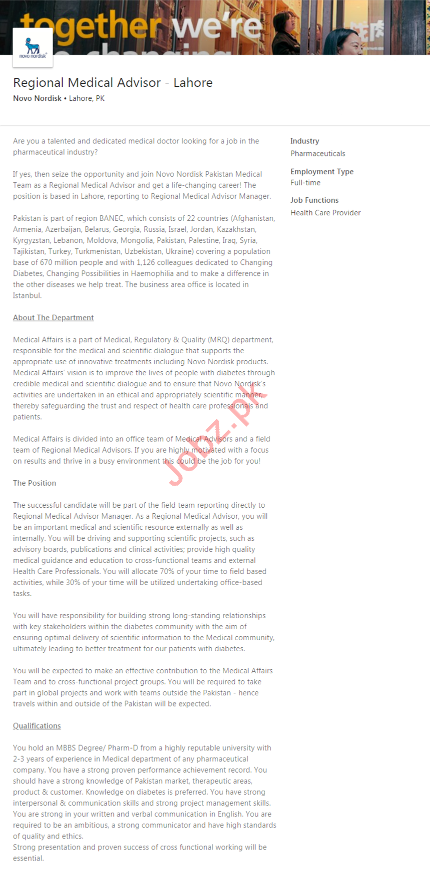 Novo Nordisk Lahore Jobs 2020 Regional Medical Advisor