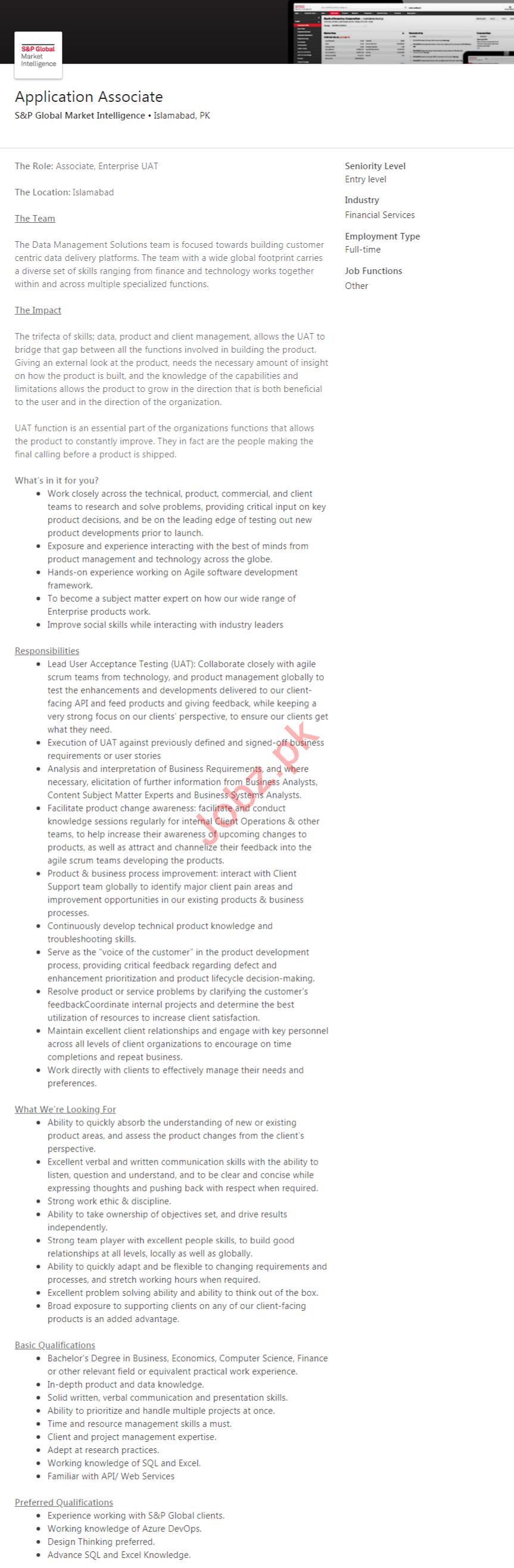 S&P Global Market Intelligence Islamabad Jobs 2020