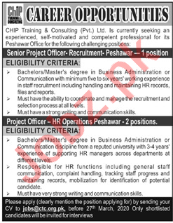 CHIP Training & Consulting Peshawar Jobs for Project Officer
