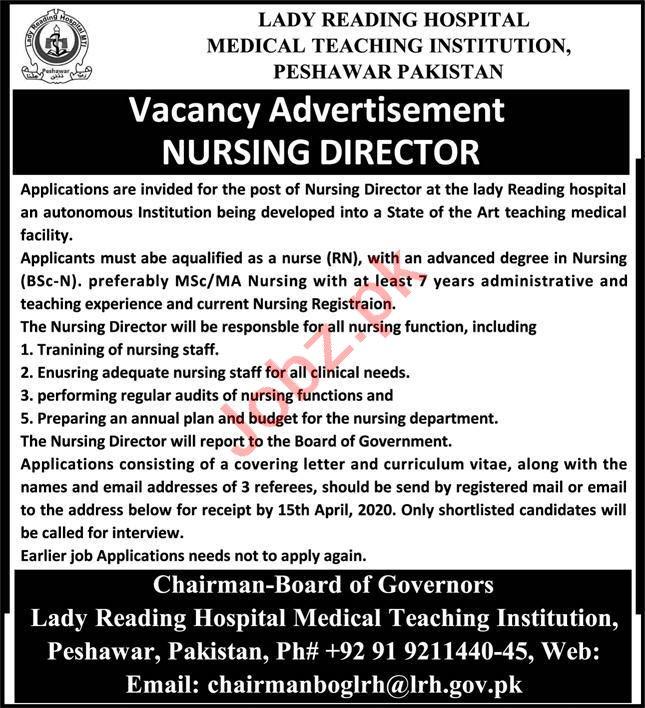 MTI Lady Reading Hospital Peshawar Jobs 2020