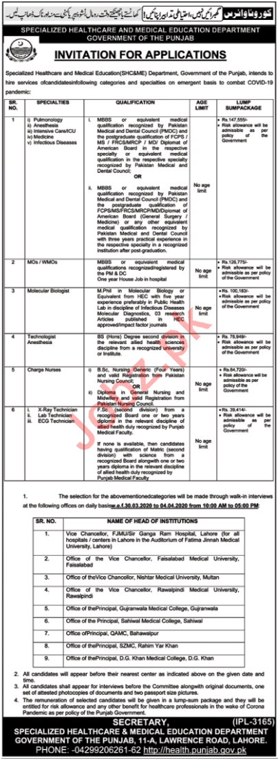 Medical Specialist & Charge Nurses Jobs in SHC&ME Lahore