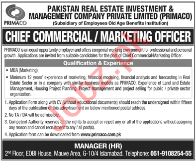 Pakistan Real Estate Investment PRIMACO Jobs 2020