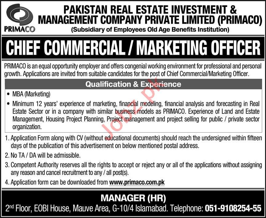 PRIMACO Islamabad Jobs 2020 for Marketing Officer