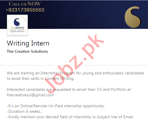The Creative Solutions Lahore Jobs 2020 for Writing Intern