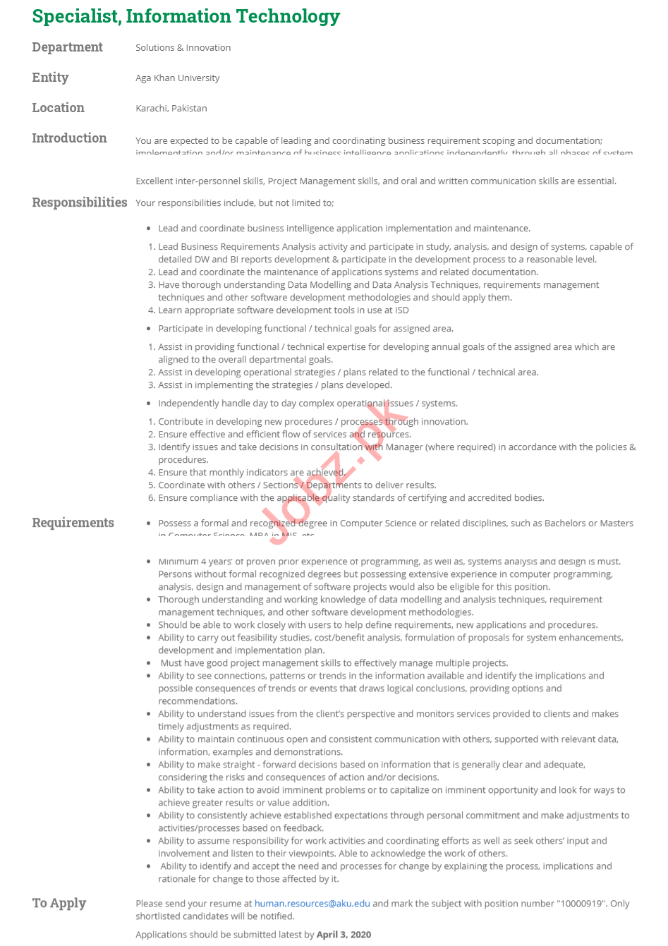 Aga Khan University AKU Karachi Jobs 2020 Specialist IT