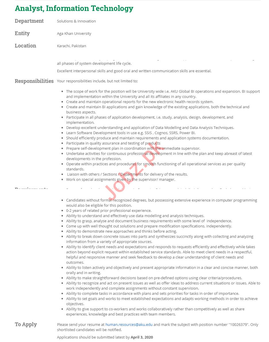 Analyst IT Jobs 2020 in Aga Khan University AKU Karachi