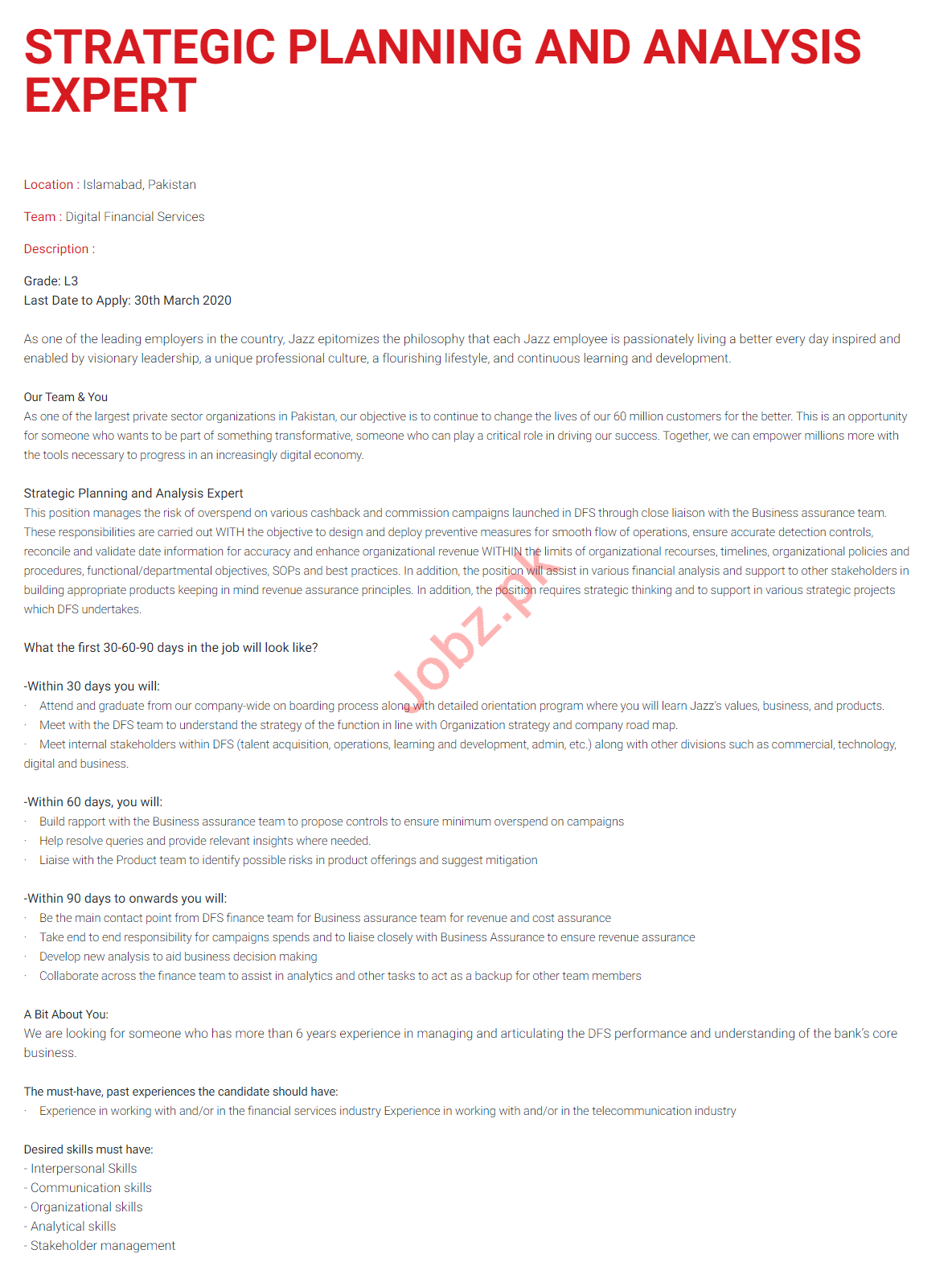 Strategic Planning & Analysis Expert Jobs in Jazz Telecom
