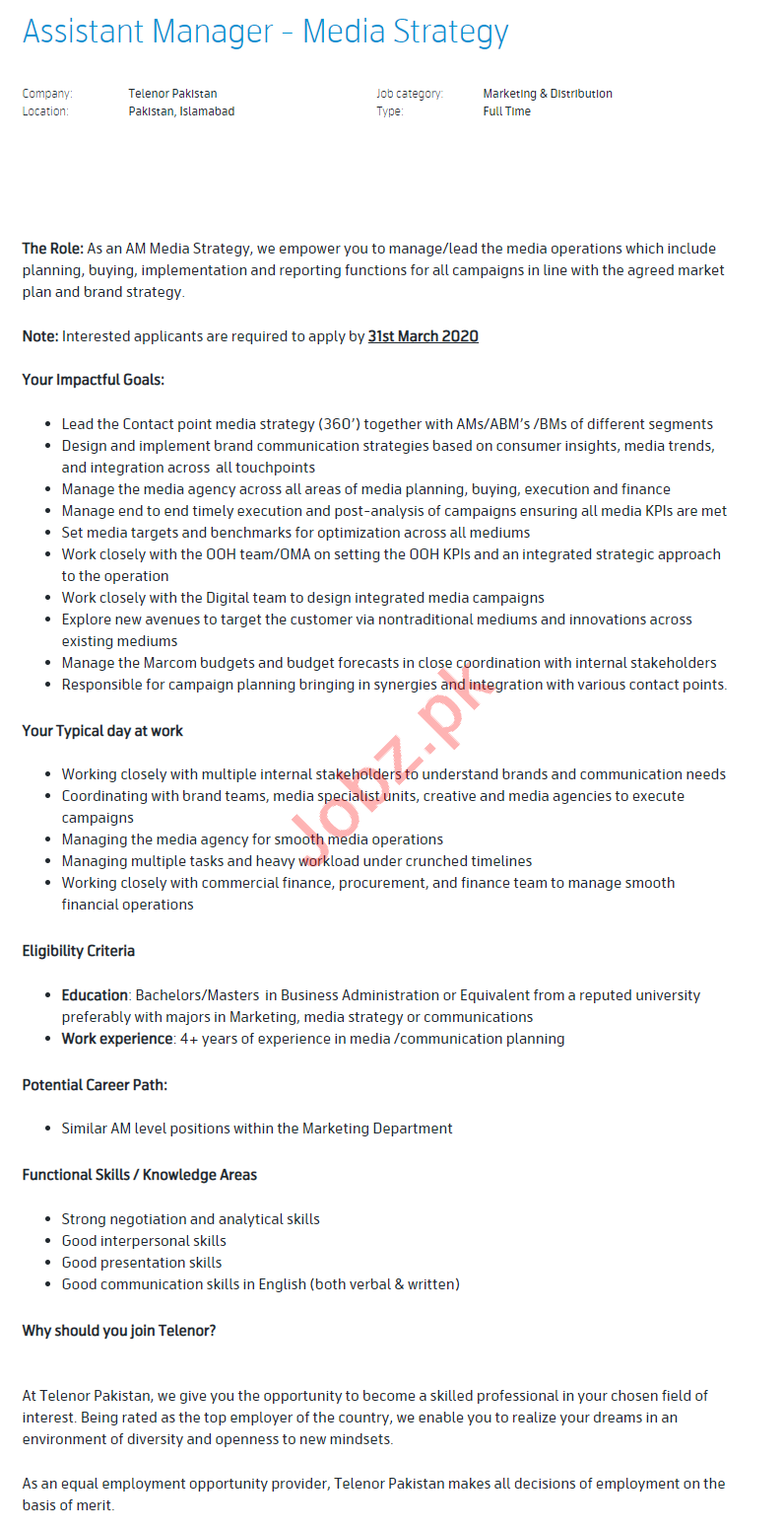 Assistant Manager Media Strategy Jobs 2020 in Islamabad