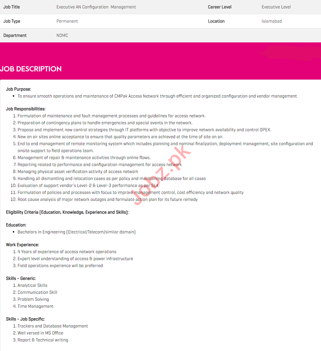 Executive AN Configuration Management Jobs in Zong Pakistan