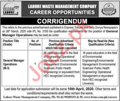 Lahore Waste Management Company General Manager Jobs 2020