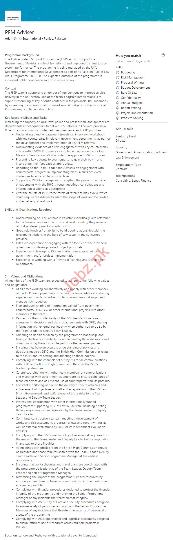Adam Smith International Lahore Jobs 2020 for PFM Advisor