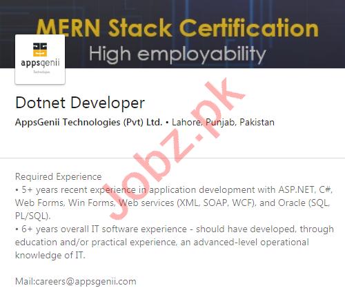 AppsGenii Technologies Lahore Jobs 2020 Dotnet Developer