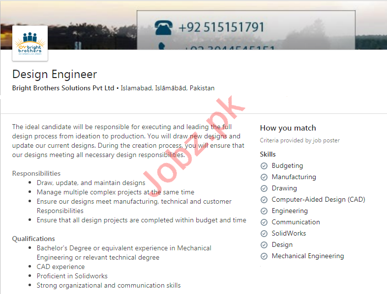 Bright Brothers Solutions Islamabad Jobs 2020 for Engineer
