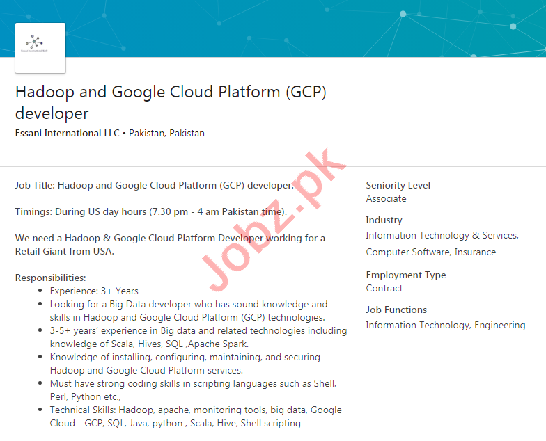 Essani International LLC Jobs 2020 Cloud Platform Developer