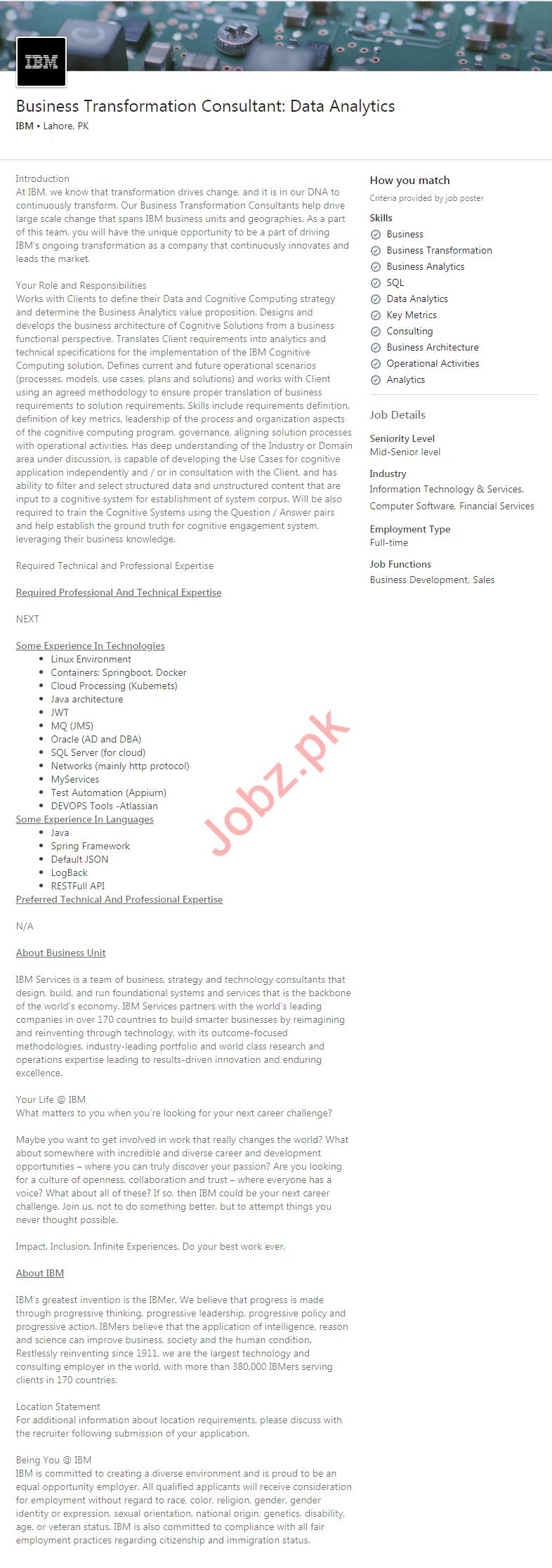 IBM Pakistan Jobs 2020 for Data Analytics