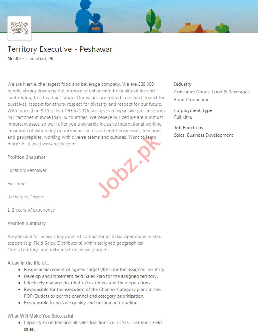 Nestle Peshawar Jobs 2020 for Territory Executive