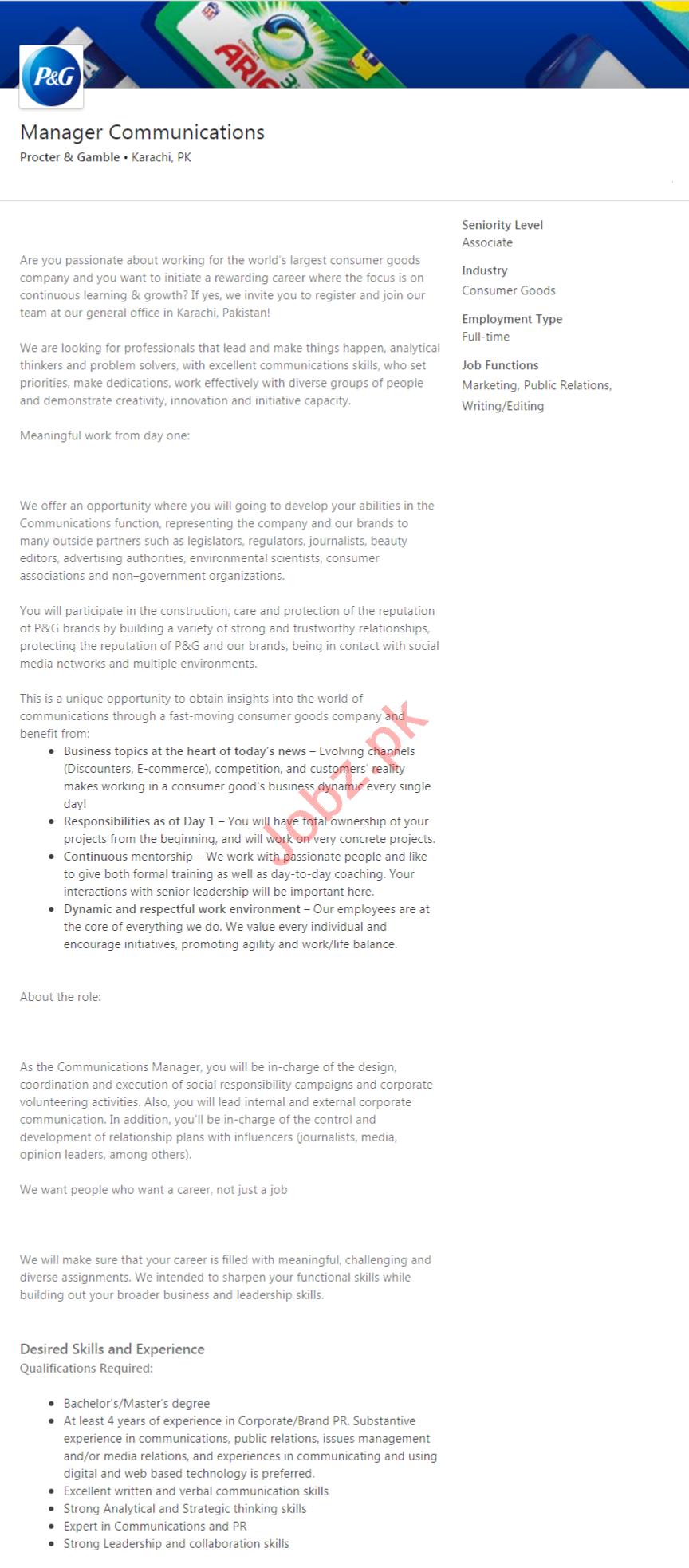 Procter & Gamble Pakistan Jobs 2020 Manager Communications