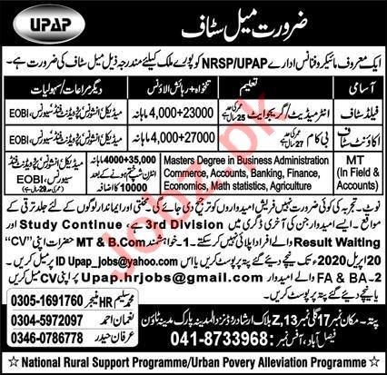 NRSP Faisalabad Jobs 2020 for Field Staff & Accounts Staff