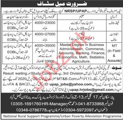 UPAP NRSP Faisalabad Jobs 2020 for Accounts Staff