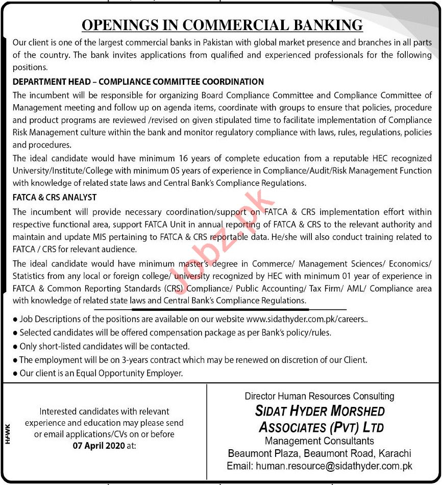 Department Head Compliance Committee Coordination Jobs 2020