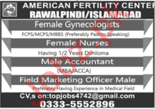 American Fertility Center Islamabad Jobs 2020 Gynecologist