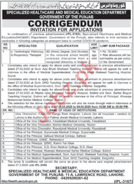 Health Department Punjab Jobs 2020 Technologist ...