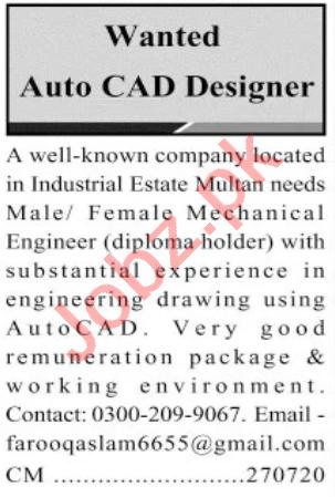 Auto CAD Designer & Mechanical Engineer Jobs 2020