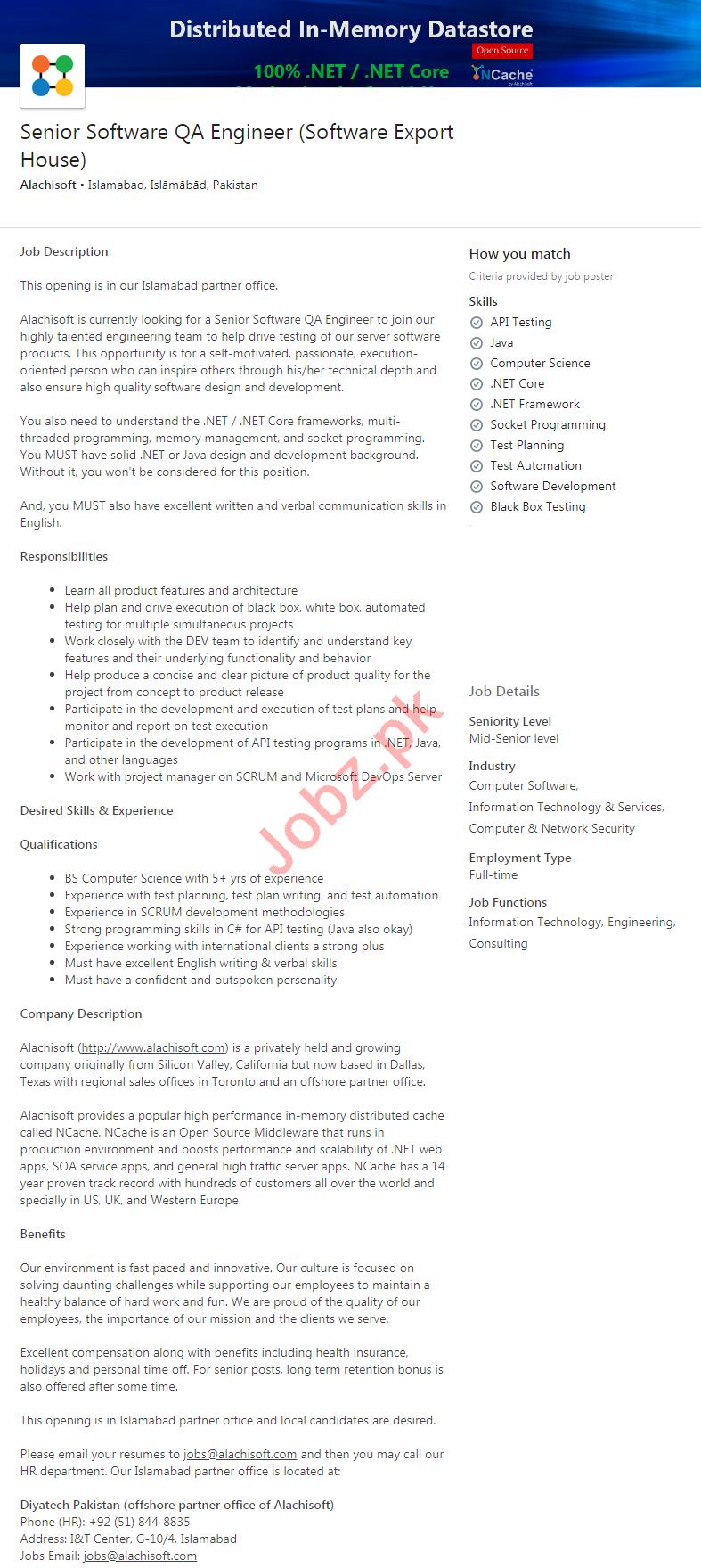 Alachisoft Islamabad Jobs 2020 Senior Software QA Engineer