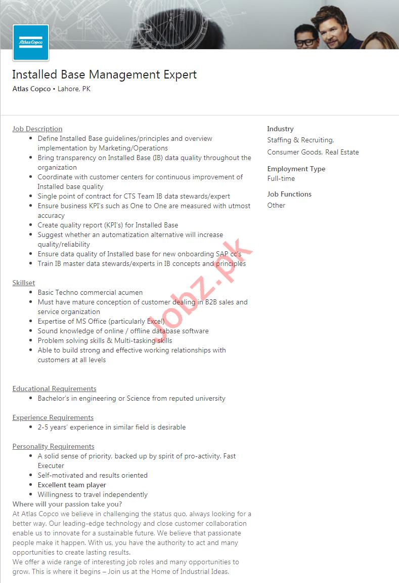 Atlas Copco Lahore Jobs 2020 for Management Expert
