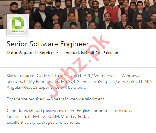 DatumSquare IT Services Jobs 2020 for Software Engineer