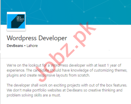 DevBeans Lahore Jobs 2020 for Wordpress Developer