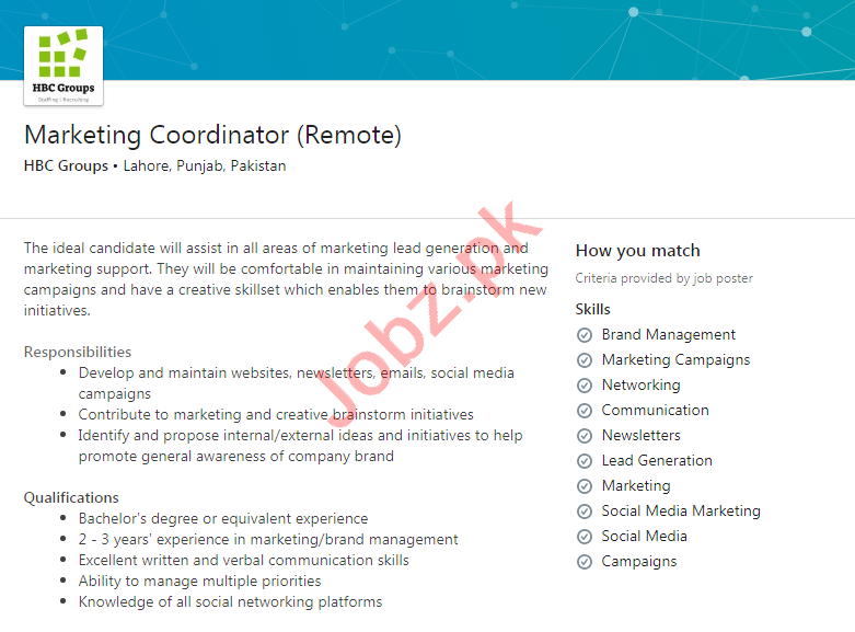 HBC Groups Lahore Jobs 2020 for Marketing Coordinator