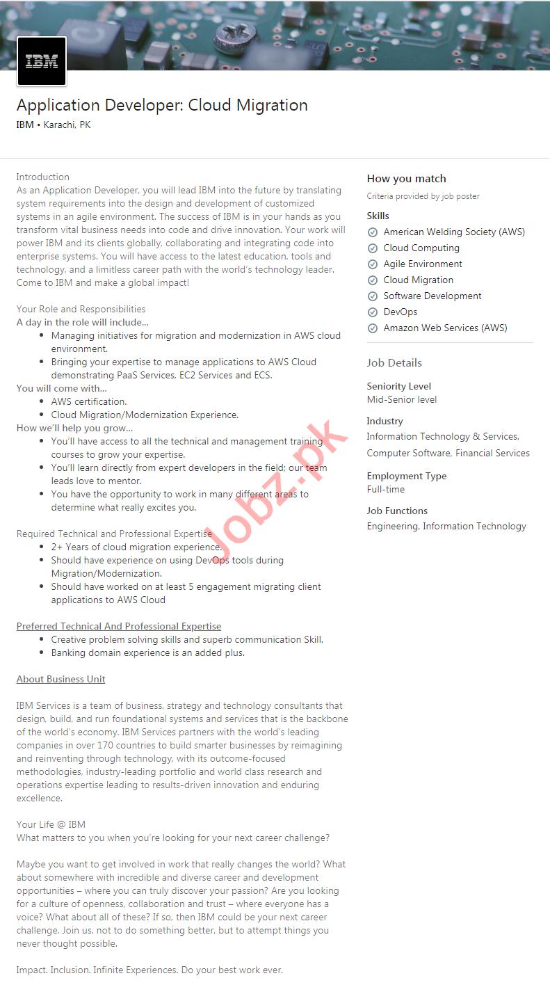 IBM Karachi Jobs 2020 for Application Developer