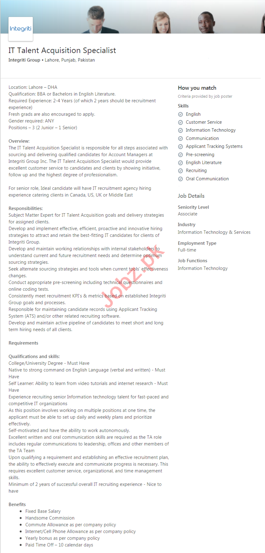 Integriti Group Lahore Jobs IT Talent Acquisition Specialist