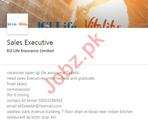 IGI Life Insurance Karachi Jobs 2020 for Sales Executive