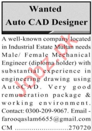 Mechanical Engineer & Auto CAD Designer Jobs 2020