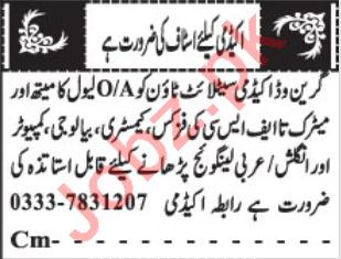 Greenwood Academy Quetta Jobs 2020 for Teachers
