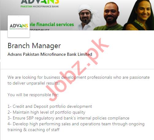 Advans Pakistan Microfinance Bank Jobs 2020 Branch Manager