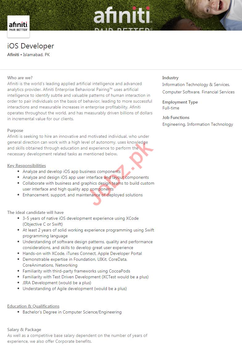 Afiniti Islamabad Jobs 2020 for iOS Developer