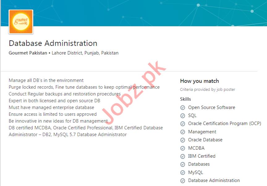 Gourmet Pakistan Jobs 2020 for Database Administration