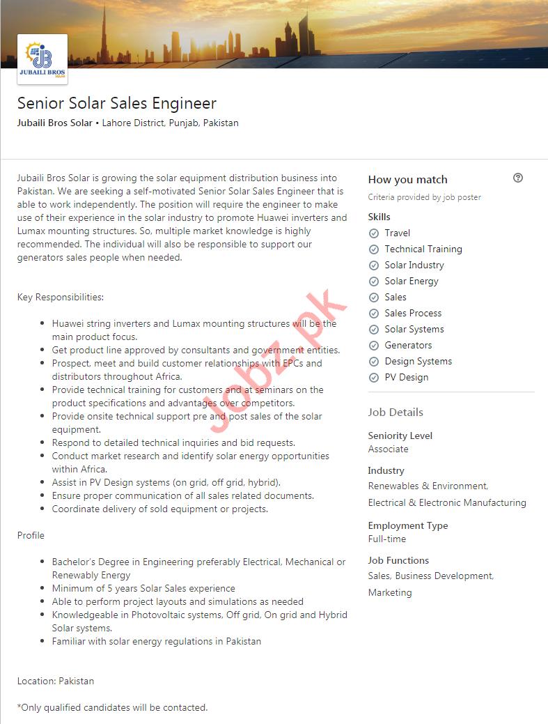 Jubaili Bros Solar Lahore Jobs 2020 Solar Sales Engineer