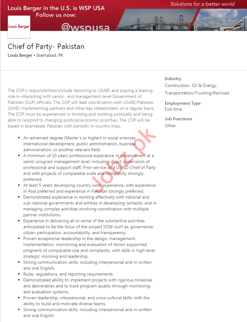 Louis Berger Islamabad Jobs 2020 for Chief of Party