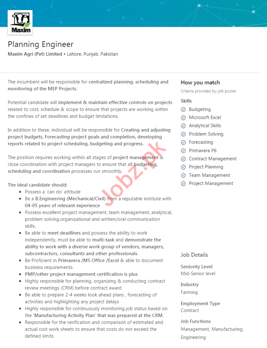 Maxim Agri Lahore Jobs 2020 for Planning Engineer