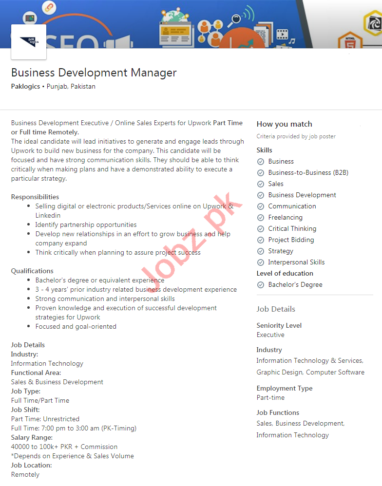 Paklogics Faisalabad Jobs 2020 Business Development Manager