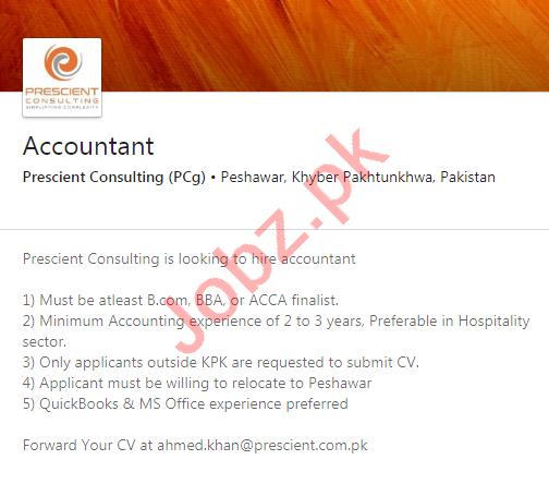 Prescient Consulting PCg Peshawar Jobs 2020 for Accountant