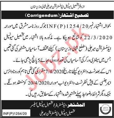 TMA Mir Ali North Waziristan Jobs 2020 for Sanitary Workers